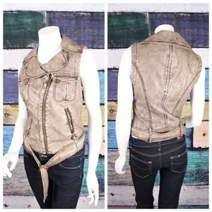 Bebe Distressed Faux Leather Belted Moto Vest